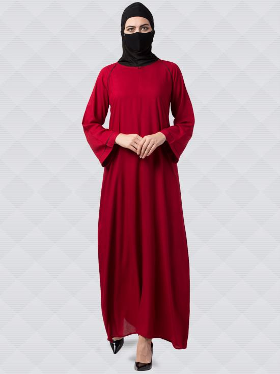 Rayon Cotton Abaya With Zipper On Front In Maroon