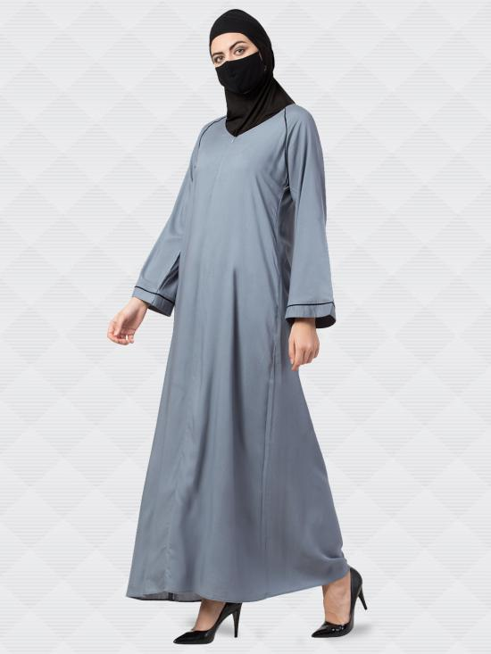 Rayon Cotton Abaya With Zipper On Front in Grey
