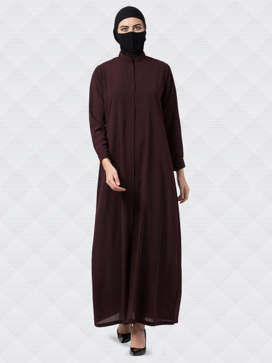 Nida Matte Front Open Abaya With Snap On Buttons In Brown