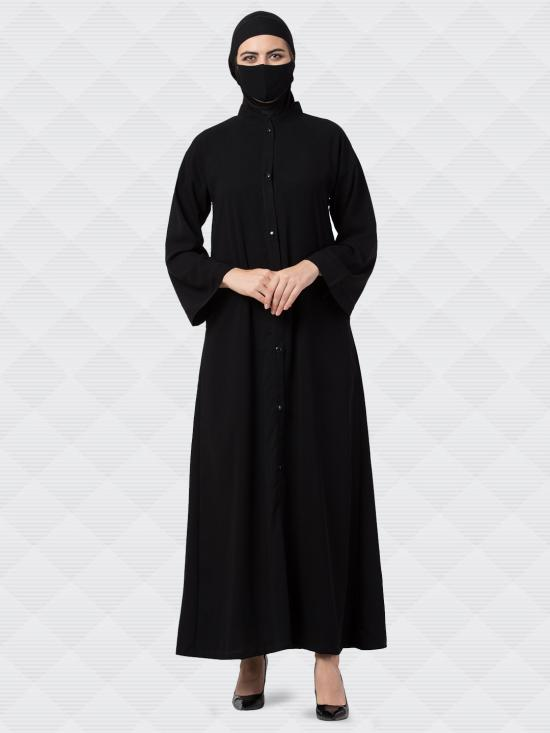 Nida Matte Front Open Abaya With Kimono Sleeves In Black