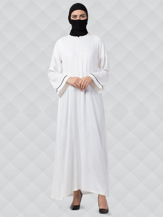 Rayon Cotton Abaya With Zipper On Front In White
