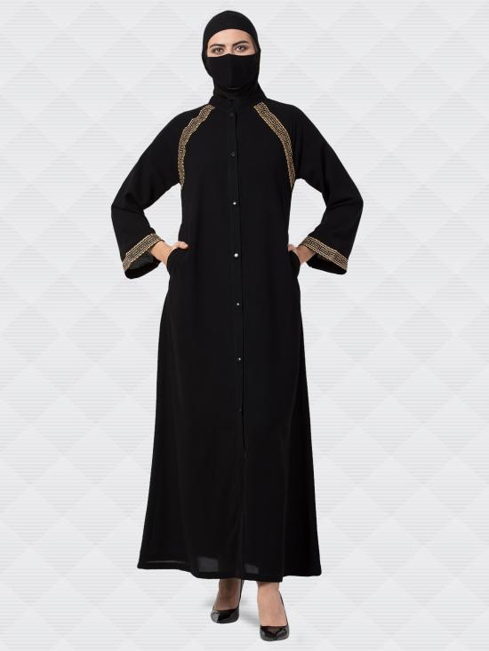 Nida Matte Front Open Abaya With Lacework In Black