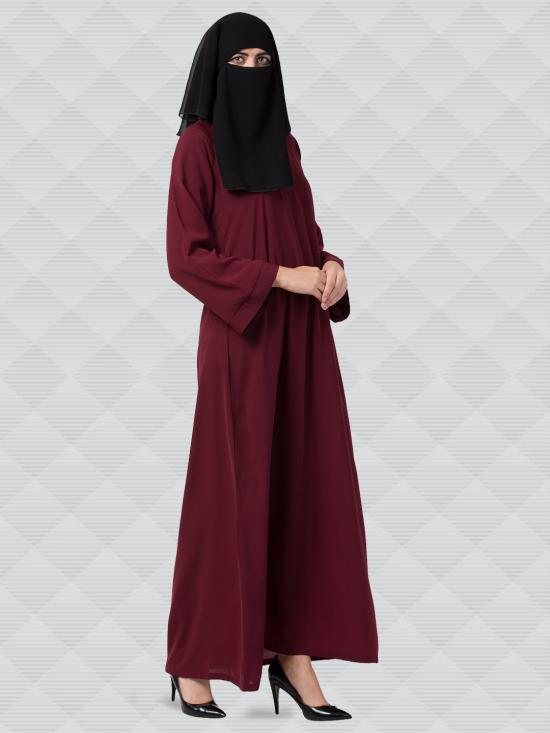 Nida Matte Abaya And Georgette Naqaab With Kimono Sleeves In Maroon And Black