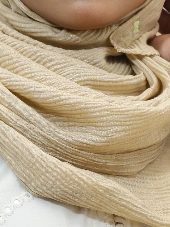 Crinkled Cotton Plain Stole In Beige