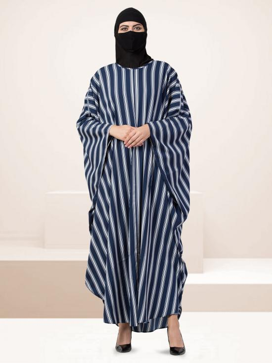 Crepe Striped Kafthan In Blue And White