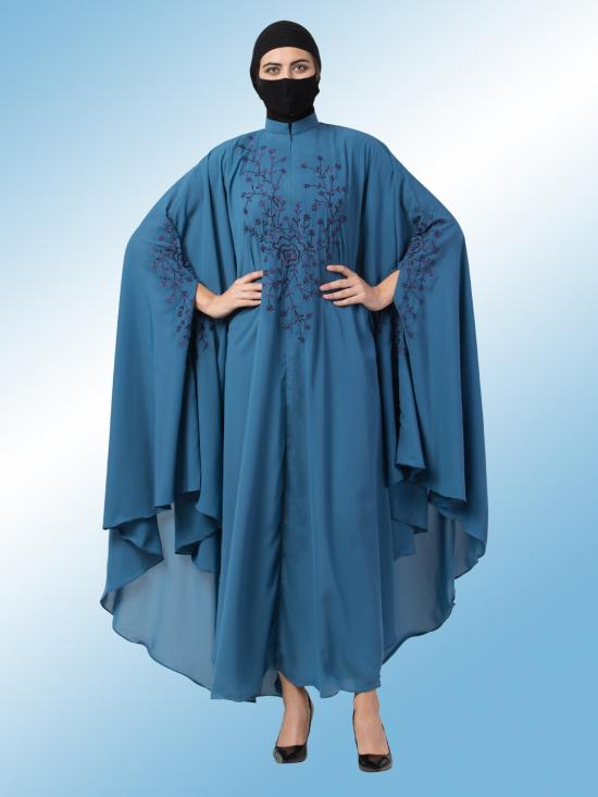Nida Matte Irani Kaftan With Chikan Work In French Blue