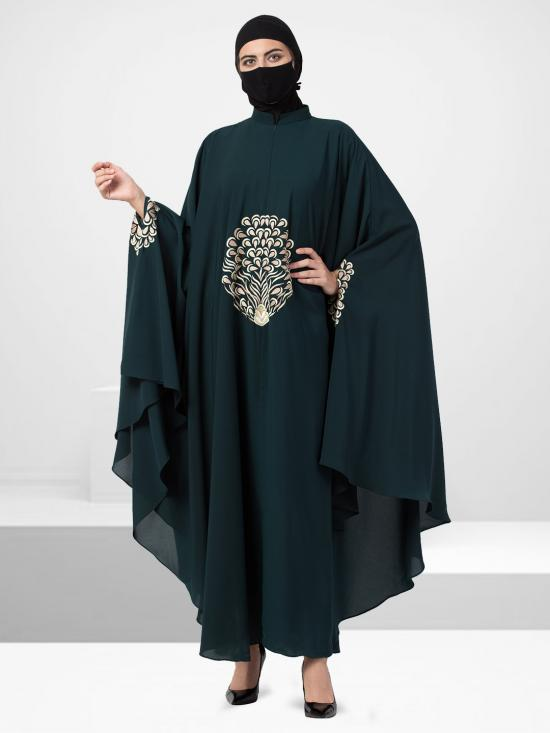 Nida Matte Irani Kaftan With Chikan Work In Bottle Green