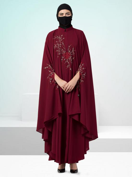 Nida Matte Irani Kaftan With Chikan Work In Maroon