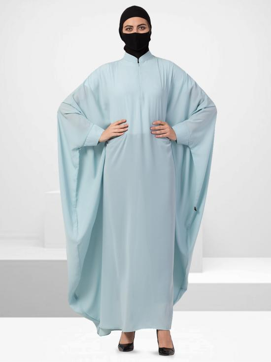 Nida Matte Elegant Kaftan With Zipper Opening In Sky Blue