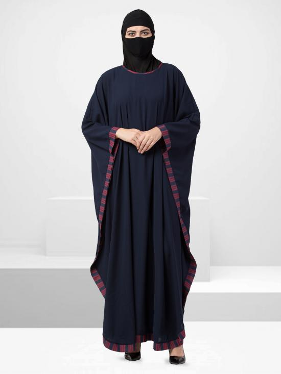 Nida Matte Kaftan Abaya With Striped Border In Navy Blue
