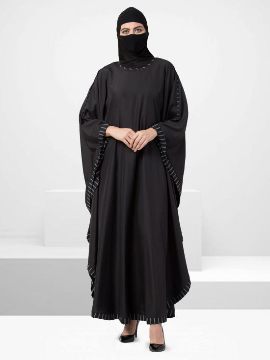 Crepe Kaftan Abaya With Border In Black