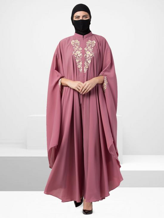 Nida Matte Irani Kaftan With Chikan Work In Puce Pink