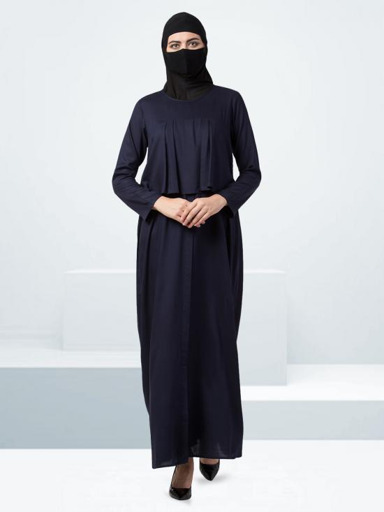 Rayon Modest Abaya With Extra Designer Layer In Navy Blue