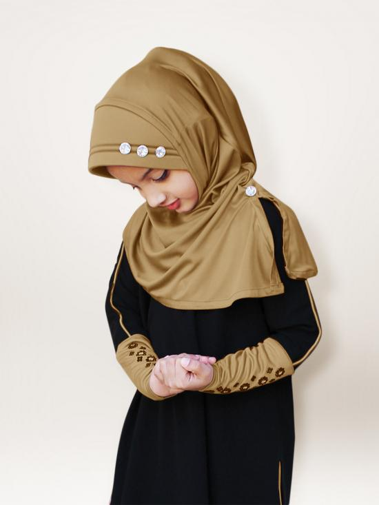 Little Riya Soft Knitted Icra Fabric Hijab In Gold