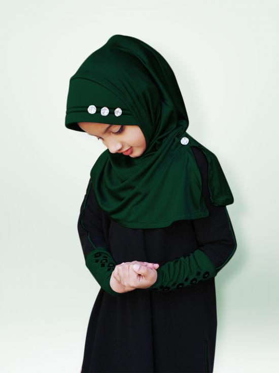 Little Riya Soft Knitted Icra Fabric Hijab In Bottle Green