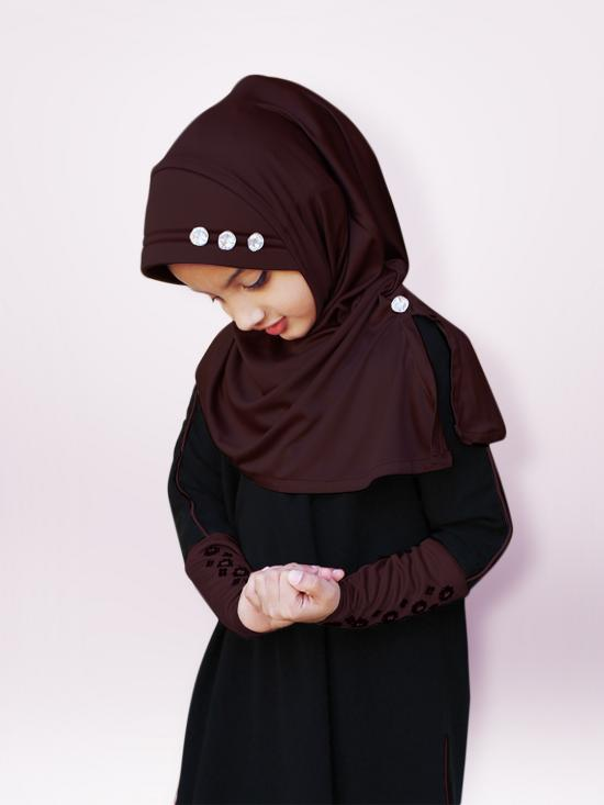 Little Riya Soft Knitted Icra Fabric Hijab In Cocco