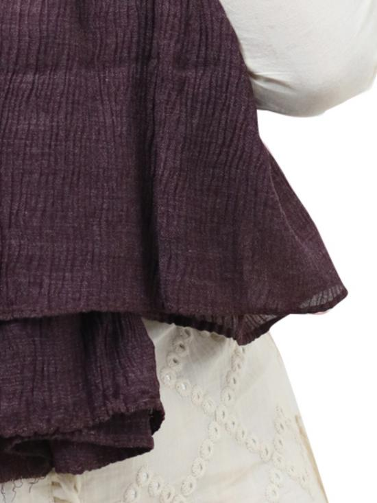 Crinkled Cotton Plain Stole In Wine