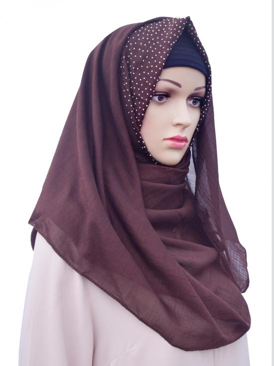 Cotton Mix Stole With Drip Drop Work In Brown