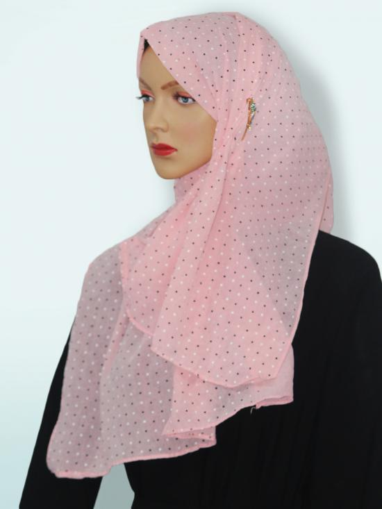 Georgette Stole With Dot Print In Baby Pink