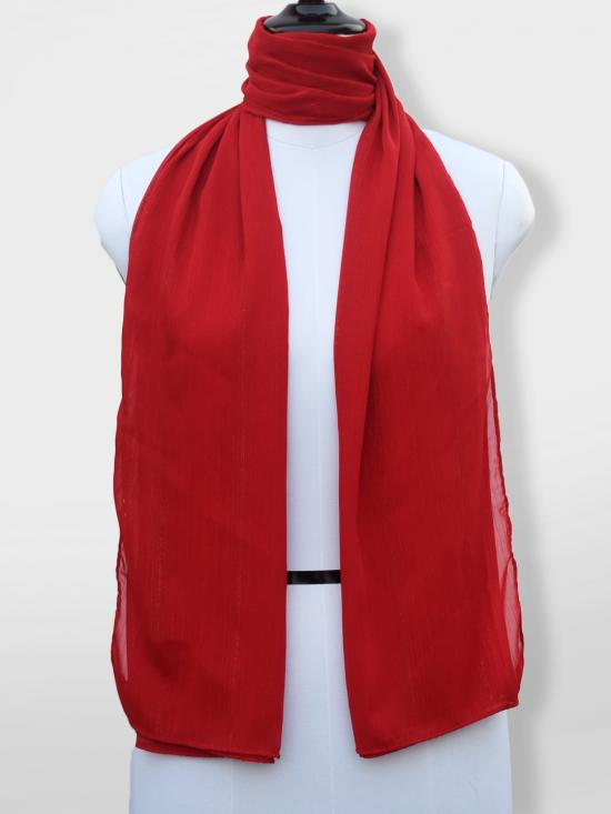 Georgette Stole With Slitted Polyester Thread Work in Red