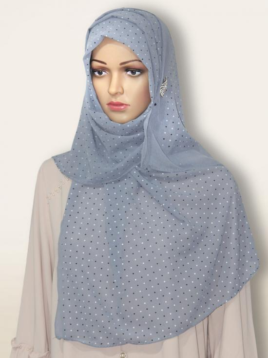 Georgette Stole With Dot Print In Grey