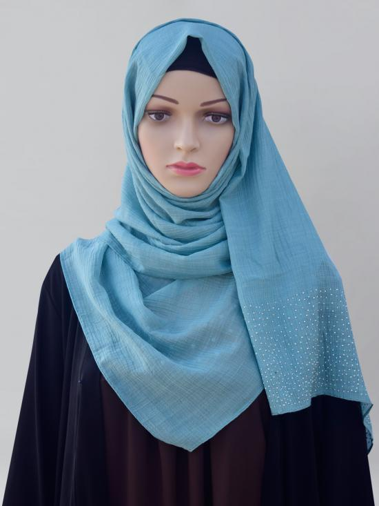 Cotton Mix Stole With Drip Drop Work In Teal