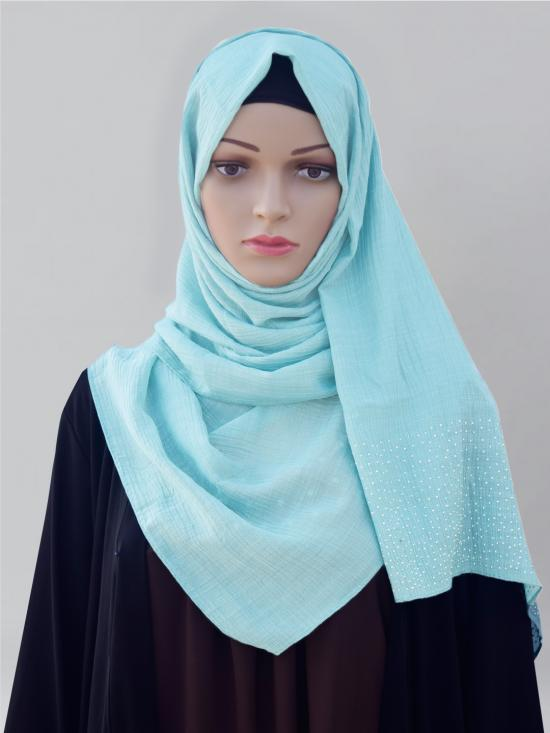 Cotton Mix Stole With Drip Drop Work In Baby Blue