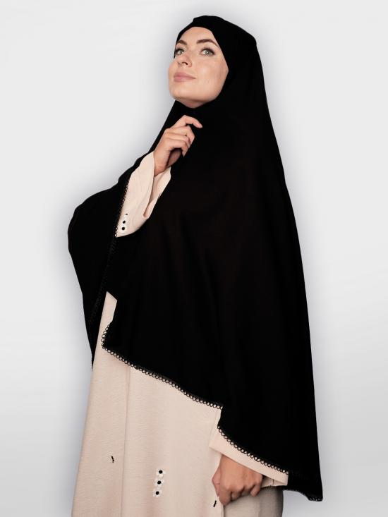 Salafi Plain Nida Matte Instant Hijab With Lace Work In Black