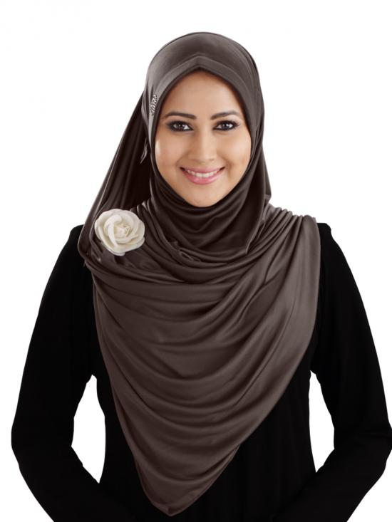 Anarkali Xtra Soft Knitted Icra Instant Hijab In Formal Grey