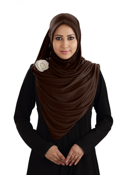 Anarkali Xtra Soft Knitted Lycra Instant Hijab In Cocco