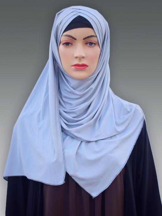 100% Polyster Lycra Turban Style Instant Hijab In Ash