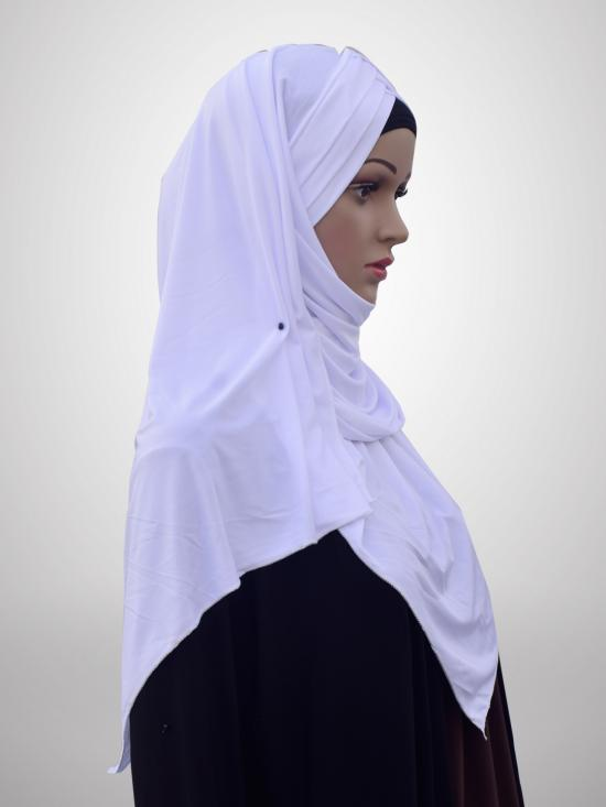 100% Polyster Lycra Turban Style Instant Hijab In White
