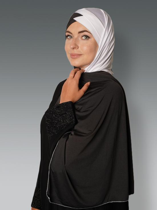 100% Polyster Lycra Turban Style Double Shade Instant Hijab In Black And White