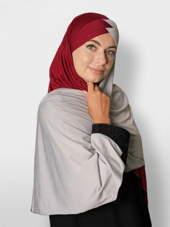 100% Polyster Lycra Turban Style Double Shade Instant Hijab In Maroon And Ash