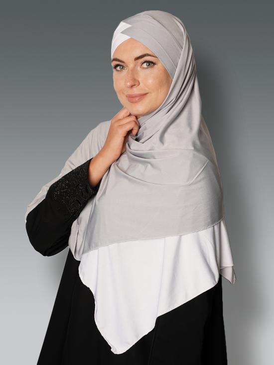 100% Polyster Lycra Turban Style Double Shade Instant Hijab In White And Ash