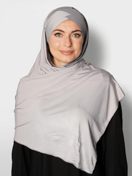 100% Polyster Lycra Turban Style Double Shade Instant Hijab In Grey And Ash