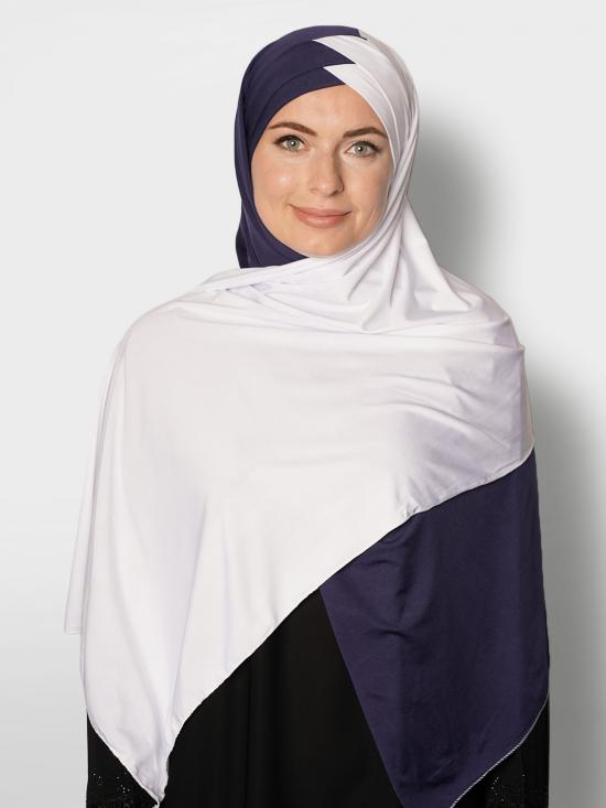 100% Polyster Lycra Turban Style Double Shade Instant Hijab In White And Navy Blue