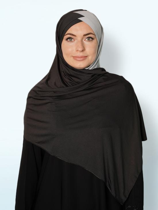 100% Polyster Lycra Turban Style Double Shade Instant Hijab In Black And Ash