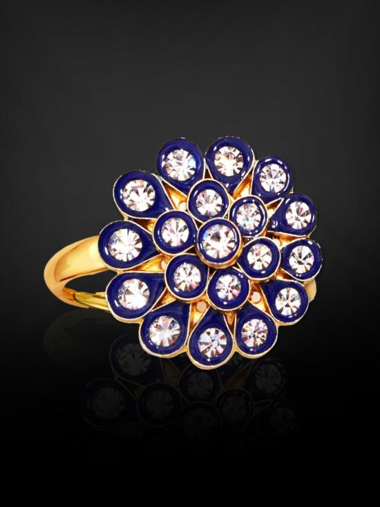 Awadhi Handmade High Quality Brass With Golden Polish Finger Rings In Blue