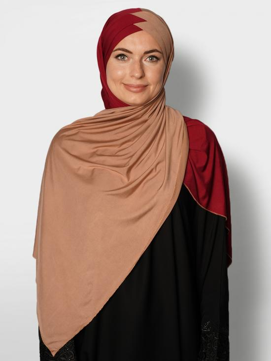 100% Polyster Lycra Turban Style Double Shade Instant Hijab In Beige And Maroon