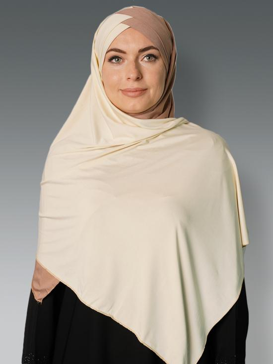 100% Polyster Lycra Turban Style Double Shade Instant Hijab In Beige And Cream