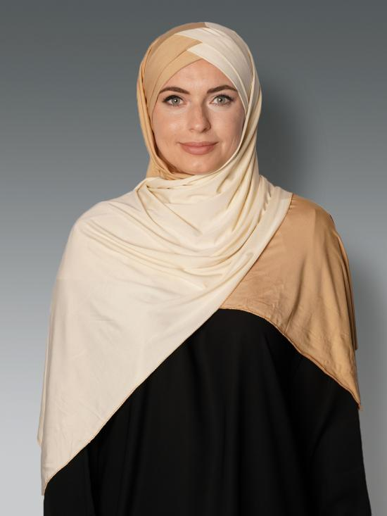 100% Polyster Lycra Turban Style Double Shade Instant Hijab In Gold And Cream