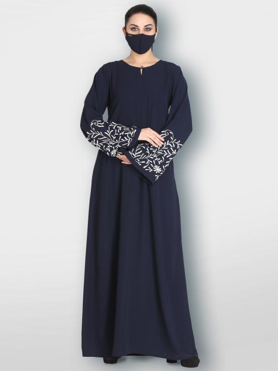 Nida Matte And Georgette Simple Abaya With Embroidered Sleeves In Navy Blue