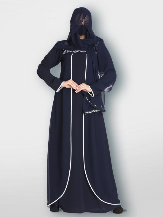 Nida Matte And Georgette Abaya With Embroidered Work And Extra Layers In Navy Blue