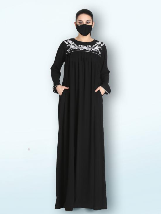Nida Matte Embroidered Abaya With Matching Hijab And Side Pockets In Black