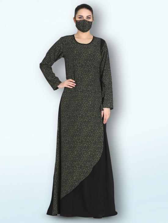 Nida Matte Modest Dress With Tie-Up Ribbon In Multi Color
