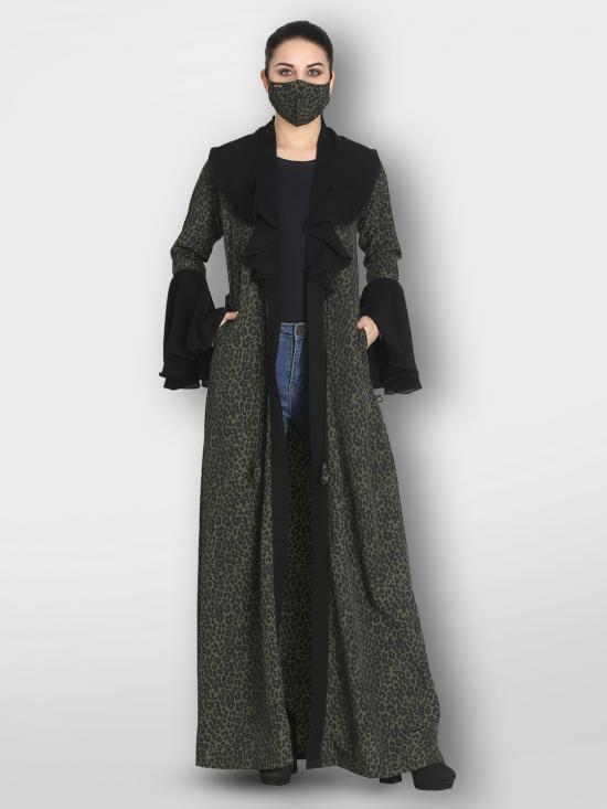 Crepe Designer Shrug with Bell Sleeves And Front Open  In Multi Color