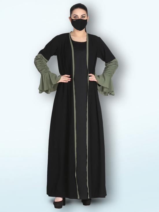 Nida Matte Set Of A Designer Shrug With Ruffled Look Sleeves And An Inner Abaya In Black And Jade Green