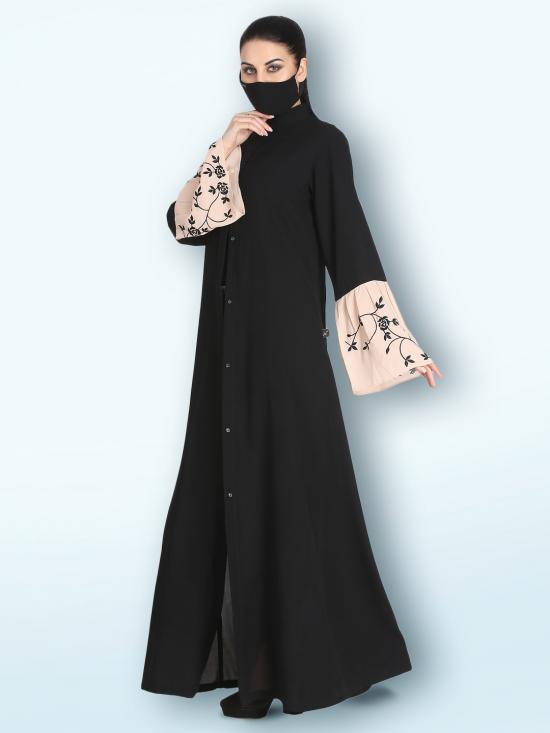 Nida Matte Front Open Abaya With  Embroidered Bell Sleeves In Black