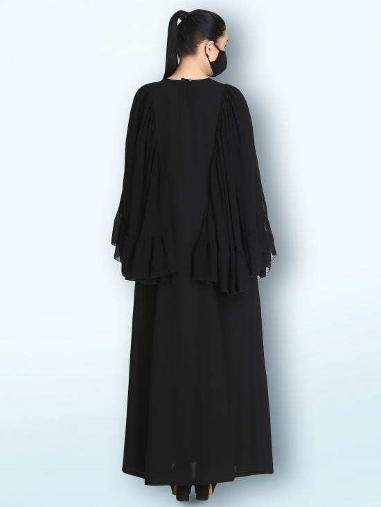 Nida Matte And Georgette Designer Abaya With Bell Sleeves In Black